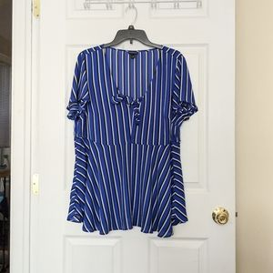 Torrid Striped Blue Blouse